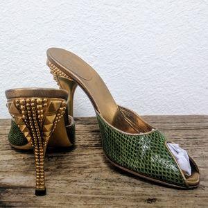 Gucci x Tom Ford Gold Stud Heeled Green Slides